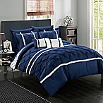 Chic Home Plymouth 10-Piece Queen Comforter Set in Navy