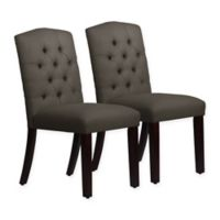Skyline Furniture Denise Arched Dining Chairs in Linen Slate (Set of 2)