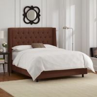 Skyline Furniture Abbie Wingback Full Bed in Linen Chocolate