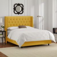 Skyline Furniture Abbie Wingback Full Bed in Linen French Yellow