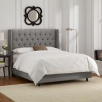 Skyline Furniture Abbie Wingback King Bed in Linen Grey