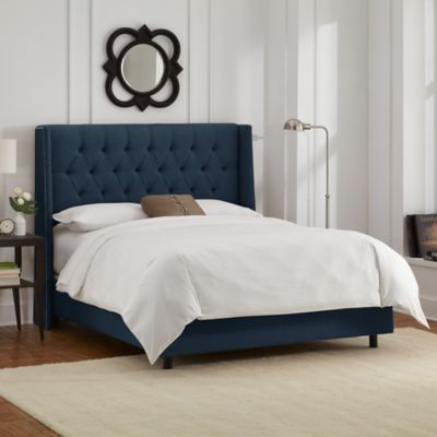 skyline furniture abbie wingback california king bed in linen navy