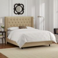 Skyline Furniture Abbie Wingback King Bed in Linen Sandstone