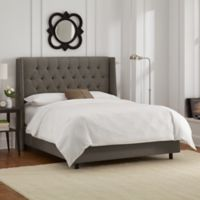 Skyline Furniture Abbie Wingback King Bed in Linen Slate