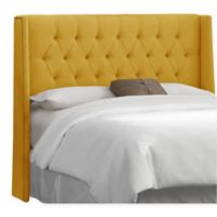 Skyline Furniture Abbie Wingback Full Headboard in Linen French Yellow