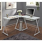 Glass Corner Computer Desk in White
