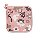 Ziczac Floral Color Centre Pot Holder in Soft Pink (Set of 2)