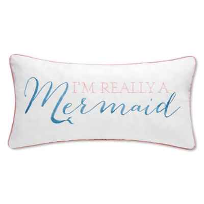 "Mystic Echoes ""I Am Really a Mermaid"" Square Throw Pillow in White"