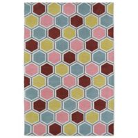 Kaleen Lily & Liam Honeycomb 3-Foot x 5-Foot Area Rug in Pink