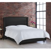 Skyline Furniture Geneva Wingback California King Bed in Linen Black