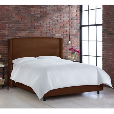 skyline furniture geneva wingback california king bed in linen chocolate