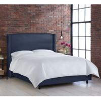 Skyline Furniture Geneva Wingback King Bed in Linen Navy