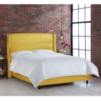 Skyline Furniture Geneva Wingback California King Bed in Linen French Yellow