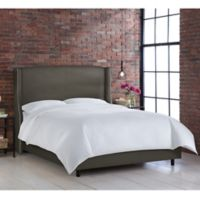 Skyline Furniture Geneva Wingback California King Bed in Linen Slate