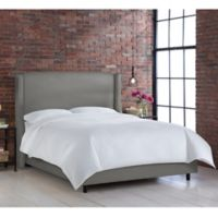 Skyline Furniture Geneva Wingback California King Bed in Linen Grey