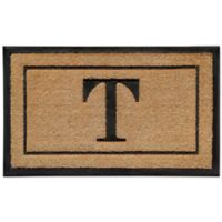 """18-Inch by 30-Inch Monogram Letter """"T"""" Doormat in Natural"""