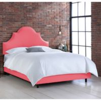Skyline Furniture Noe Nail Button Queen Bed in Linen Coral