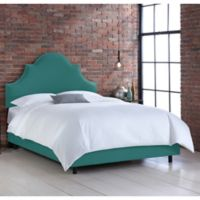 Skyline Furniture Noe Nail Button King Bed in Linen Laguna