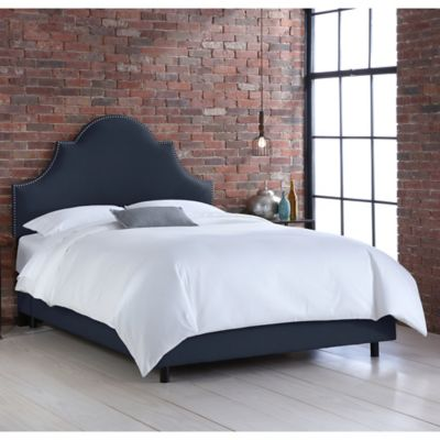 skyline furniture noe nail button twin bed in linen navy