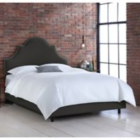 Skyline Furniture Noe Nail Button King Bed in Linen Slate