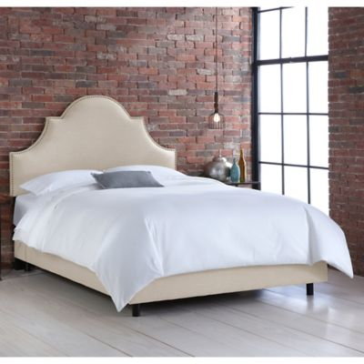 skyline furniture noe nail button california king bed in linen talc - Padded Bed Frames