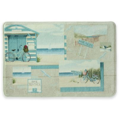 Bacova Beach Cruiser 20 Inch X 30 Inch Bath Rug In Blue Ivory