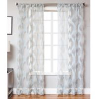 Petra 108-Inch Rod Pocket Sheer Window Curtain Panel in Blue