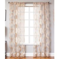 Petra 84-Inch Rod Pocket Sheer Window Curtain Panel in Taupe