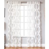 Petra 95-Inch Rod Pocket Sheer Window Curtain Panel in White