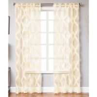 Petra 84-Inch Rod Pocket Sheer Window Curtain Panel in Champagne