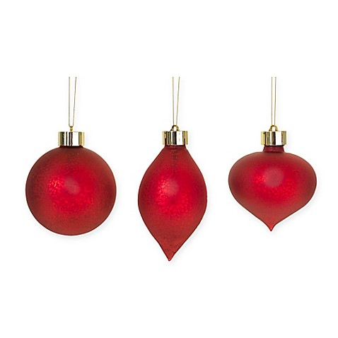 Led Antique Glass Christmas Ornament In Red Set Of 6