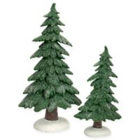 Frosted Trees in Green/White (Set of 2)