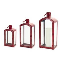 Metal and Glass Christmas Lanterns in Red (Set of 3)