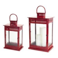 Metal and Glass Vented Christmas Lanterns in Red (Set of 2)