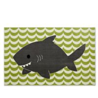 Mohawk Home Aurora Smiling Shark 5-Foot x 8-Foot Area Rug in Lime Green