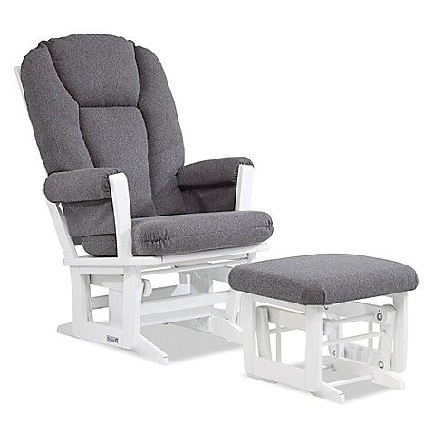 Dutailier 174 Modern Glider And Ottoman In White Charcoal
