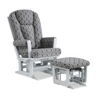 Dutailier® Modern Multi-Position Reclining Glider and Nursing Ottoman in Grey/Charcoal