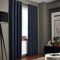 Kenneth Cole Reaction Home Bowery 63-Inch Texture Lined Grommet Window Curtain Panel in Midnight