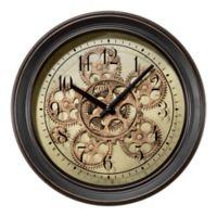 2bd02fd03ce1 La Crosse Technology Metal Wall Clock with Moving Gears in Black
