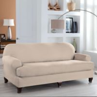 Perfect Fit® Stretch Fit Microsuede 2-Piece T-Cushion Sofa Slipcover in Ivory