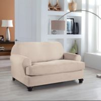 Perfect Fit® Stretch Fit Microsuede 2-Piece T-Cushion Loveseat Slipcover in Ivory