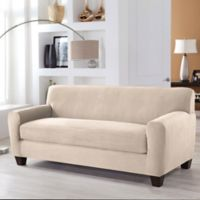 Perfect Fit® Stretch Fit Microsuede 2-Piece Box Cushion Sofa Slipcover in Ivory