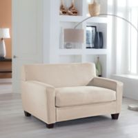 Perfect Fit® Stretch Fit Microsuede 2-Piece Box Cushion Loveseat Slipcover in Ivory