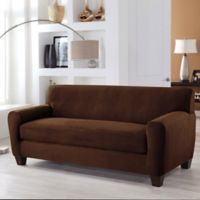 Perfect Fit® Stretch Fit Microsuede 2-Piece Box Cushion Sofa Slipcover in Cocoa