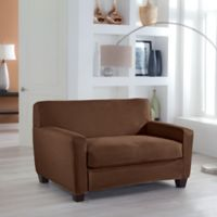 Perfect Fit® Stretch Fit Microsuede 2-Piece Box Cushion Loveseat Slipcover in Cocoa