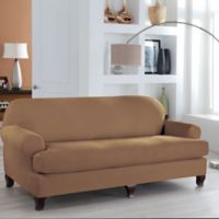 Perfect Fit Stretch Microsuede 2 Piece T Cushion Sofa Slipcover In Camel