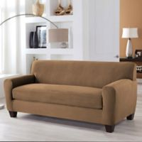 Perfect Fit® Stretch Fit Microsuede 2-Piece Box Cushion Sofa Slipcover in Camel
