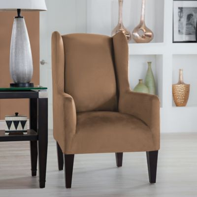 Perfect Fit® Stretch Fit Microsuede Wingback Chair Slipcover In Camel