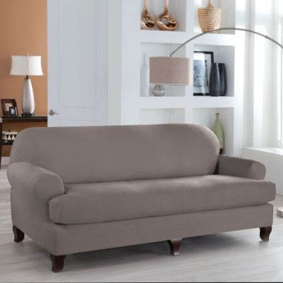 Perfect Fit® Stretch Fit Microsuede 2-Piece T-Cushion Sofa Slipcover in Grey
