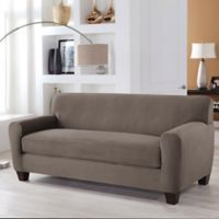 Perfect Fit® Stretch Fit Microsuede 2-Piece Box Cushion Sofa Slipcover in Grey